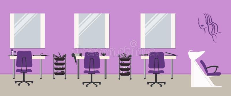 在一种紫色颜色的美发店内部 擦亮沙龙的秀丽nailfile钉子 库存例证