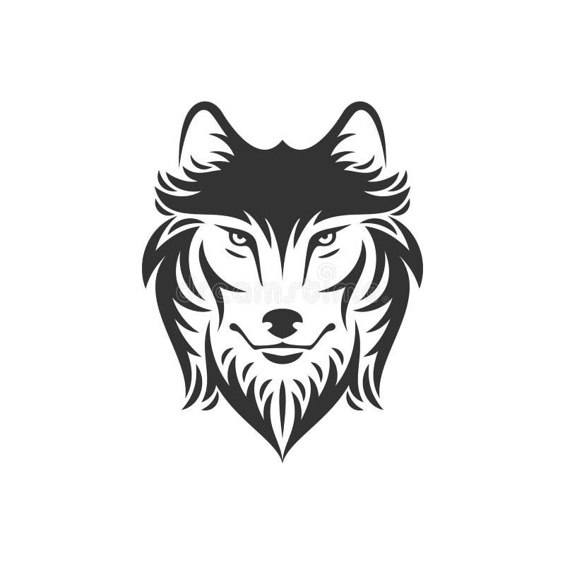 在一种颜色的狗或狼顶头例证 皇族释放例证