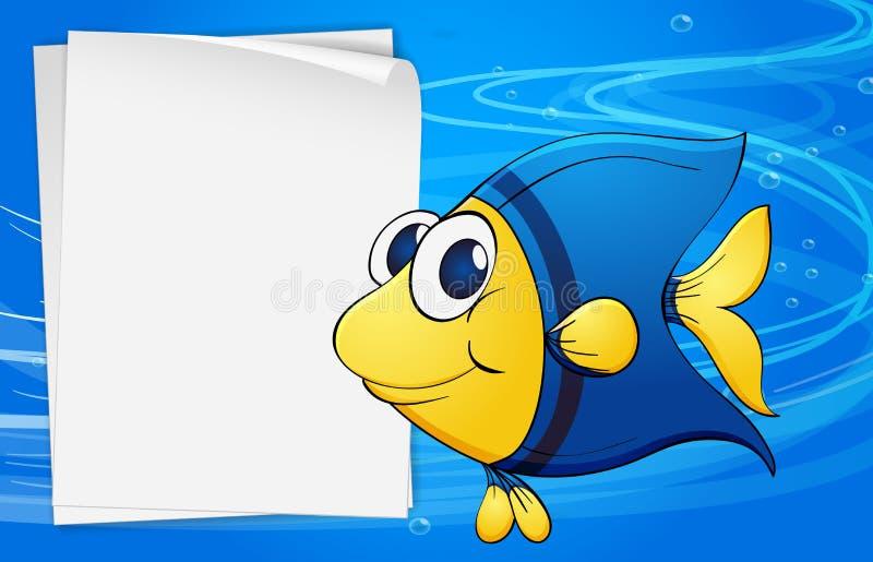 在一空的bondpaper旁边的一条鱼在海下 库存例证