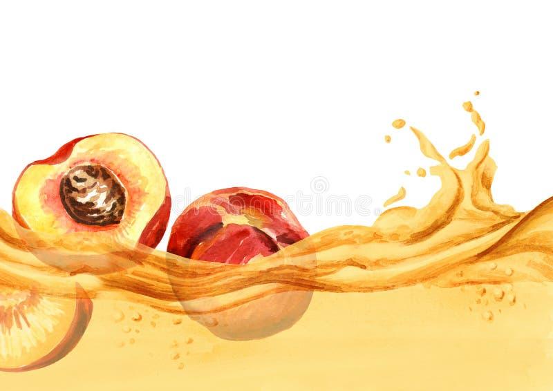 在一系列的汁液,水彩手拉的例证的新鲜的桃子 皇族释放例证