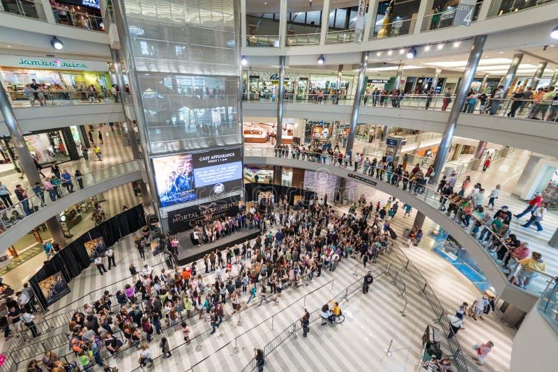 在一繁忙的天期间,美国的购物中心 免版税图库摄影