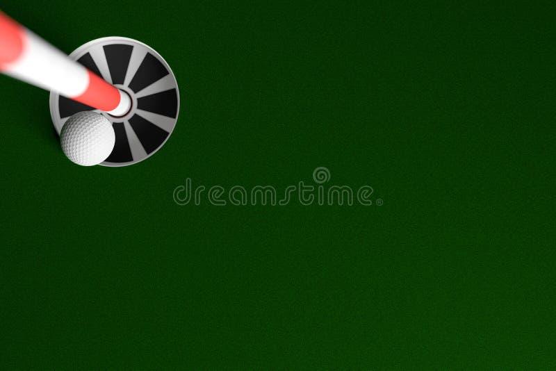 在一背景, 3D的高尔夫球孔翻译 免版税库存图片