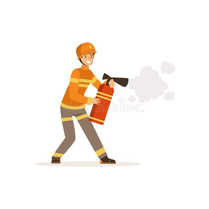 在一致和防护盔甲喷洒的泡沫从灭火器,工作传染媒介的消防队员的消防员字符 库存例证