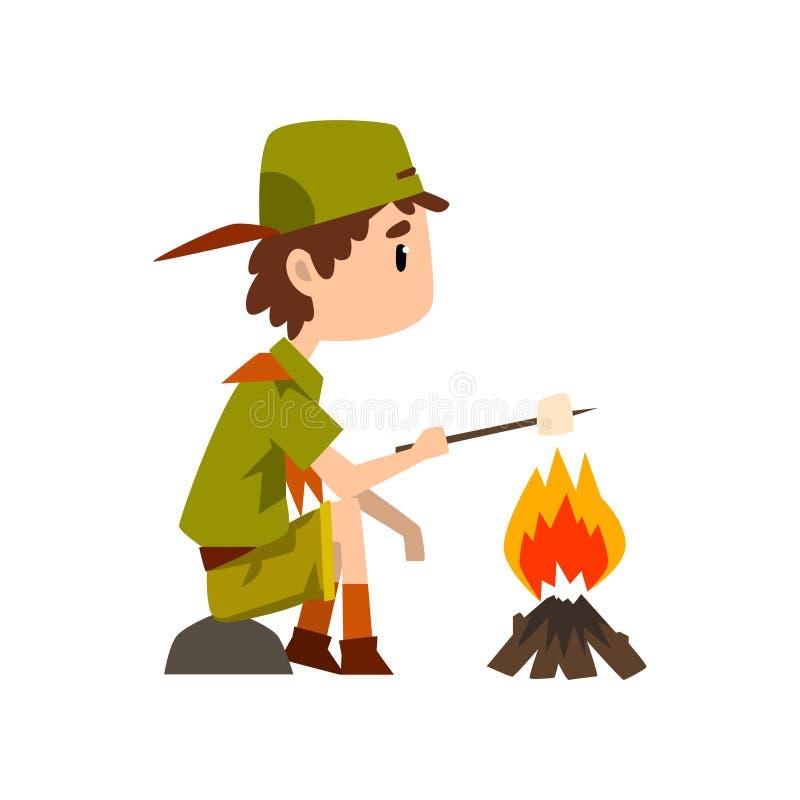 在一致的油煎的蛋白软糖的童子军字符在篝火、室外冒险和生存活动在野营的传染媒介 皇族释放例证