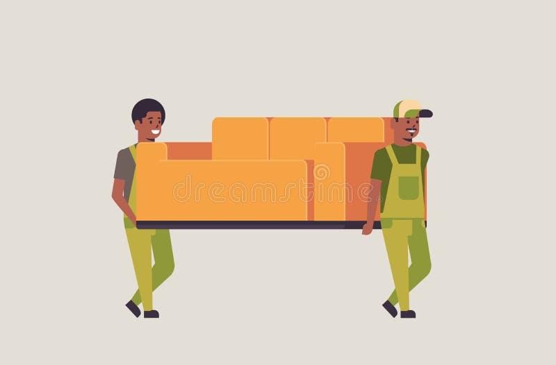在一致的移动的长沙发明确送货服务概念专业家具搬家工人的两位非裔美国人的传讯者 皇族释放例证