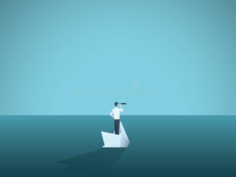 在一艘下沉的船的商人,纸小船 破产,失败,而且新的起点的标志,克服挑战 库存例证