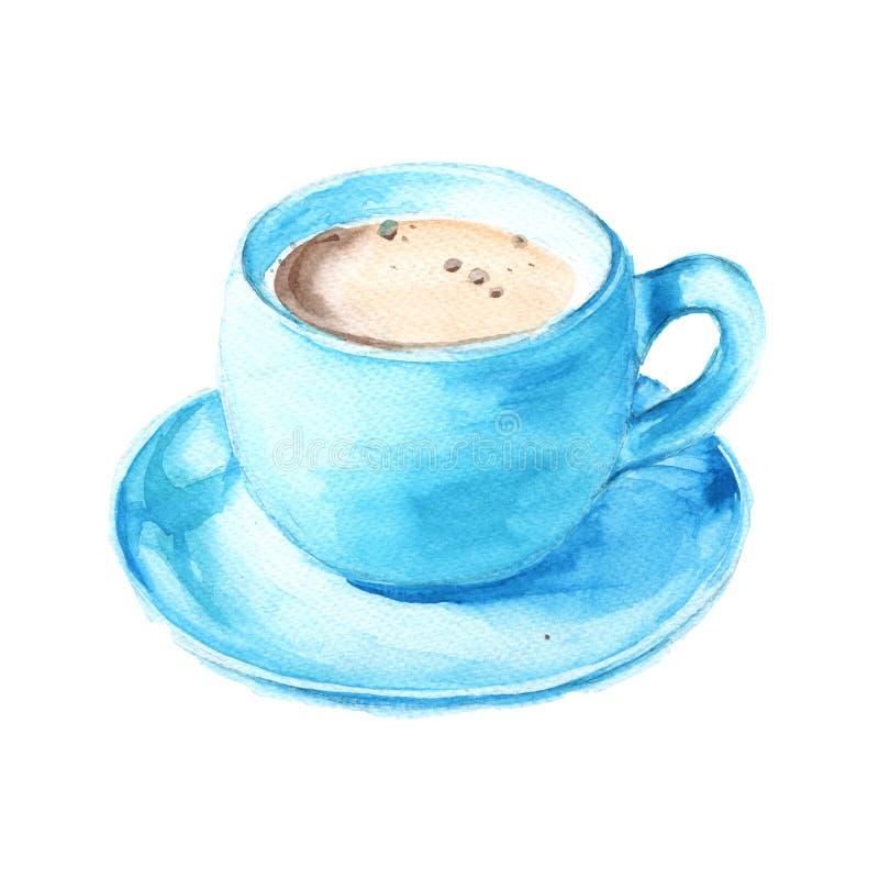 在一蓝色杯的无奶咖啡 背景查出的白色 Wate 皇族释放例证