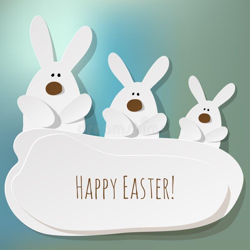 在一蓝色bokeh的愉快的复活节明信片三兔宝宝使背景模糊 向量例证