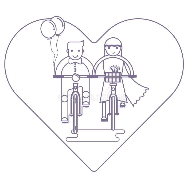 在一起乘坐在自行车,婚姻的概念的爱的夫妇 向量例证