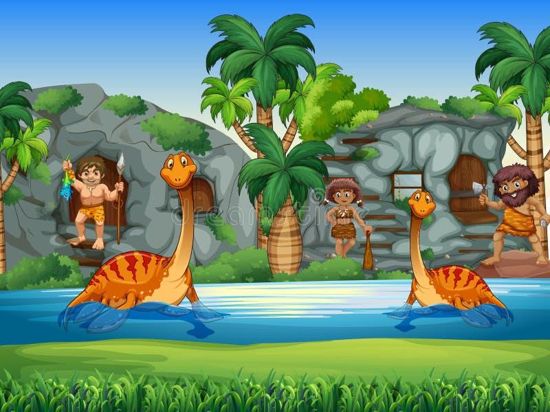 在一起生活的穴居人和的恐龙 皇族释放例证