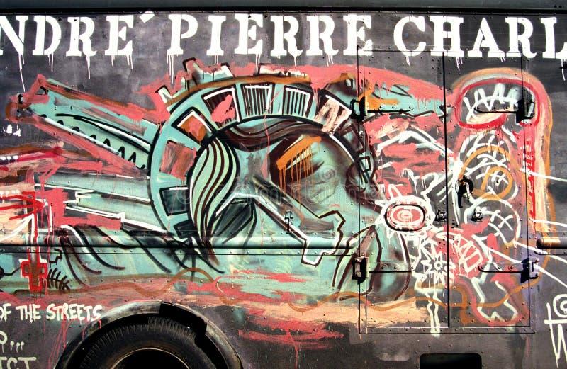 在一辆卡车的街道画在NY在记忆里对恐怖主义攻击。 皇族释放例证