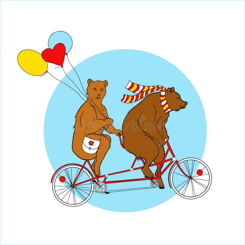 在一辆纵排自行车的夫妇 EPS, JPG 库存例证