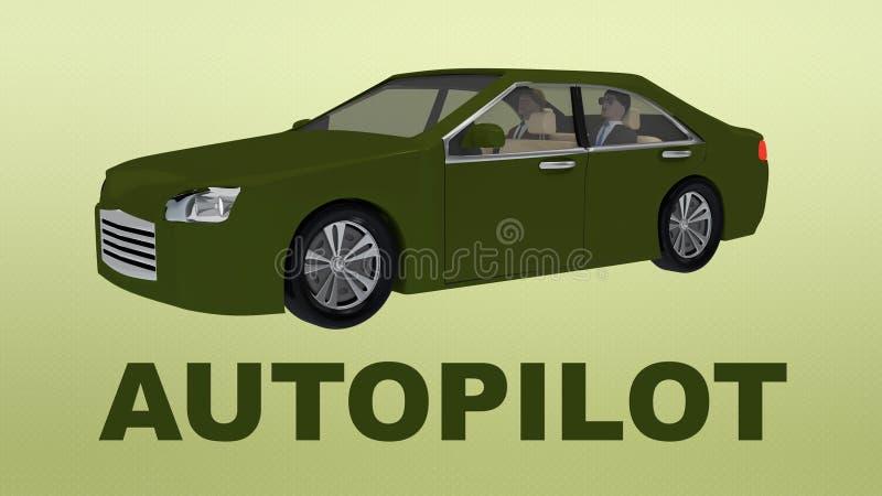在一辆自治汽车下的自动驾驶仪标题有两位乘客的 向量例证