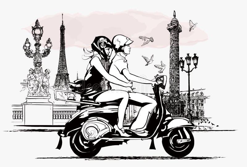 在一辆滑行车的夫妇在巴黎 皇族释放例证