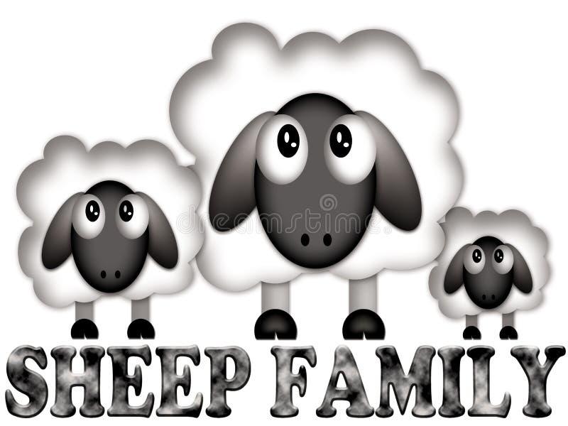 在一部滑稽的动画片的绵羊家庭 库存照片
