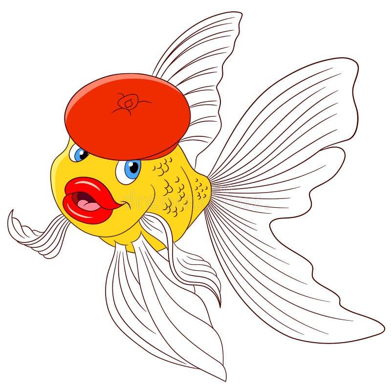 在一顶红色贝雷帽的美丽的动画片金鱼 库存例证