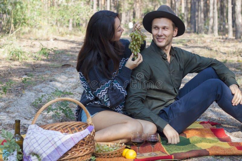 在一顿野餐的夫妇在秋天,饮料酒和吃葡萄 库存照片