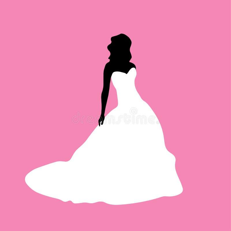 在一件白色礼服的女性剪影 皇族释放例证
