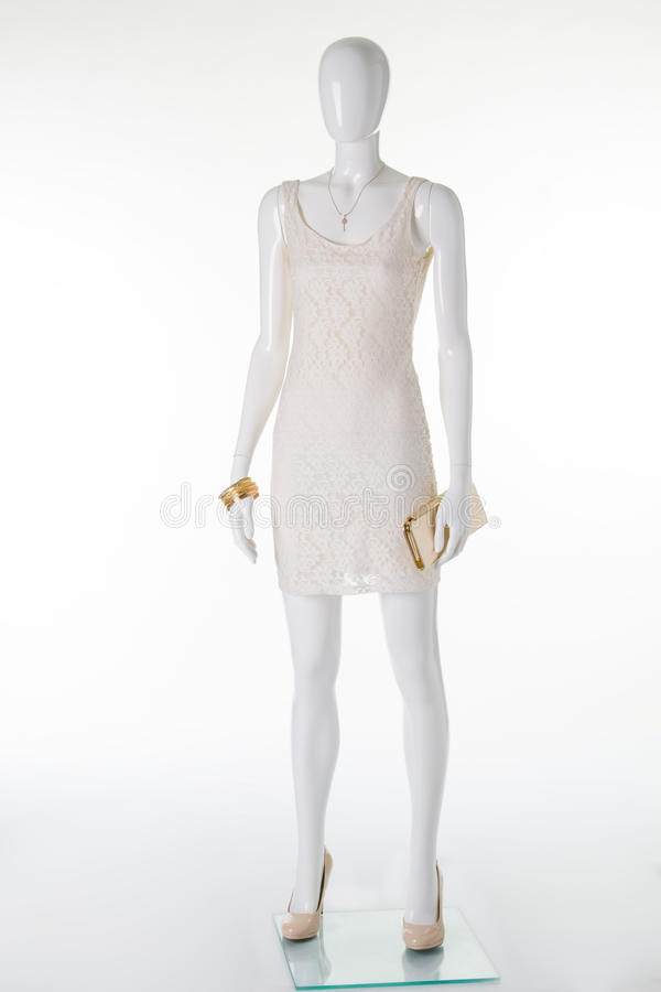 在一件礼服的母时装模特有辅助部件的 库存图片
