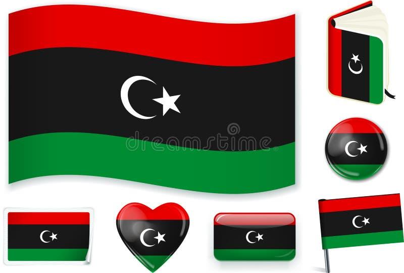 在七形状的利比亚旗子 编辑可能与分开的层数 向量例证