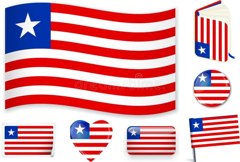 在七形状的利比里亚旗子 编辑可能与分开的层数 库存例证