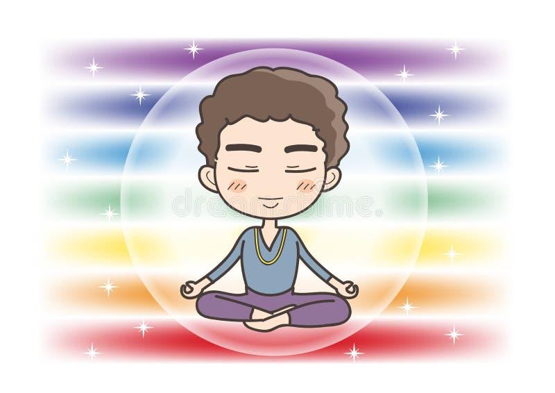 在七chakras颜色的凝思-闭合的眼睛的人摆在 向量例证