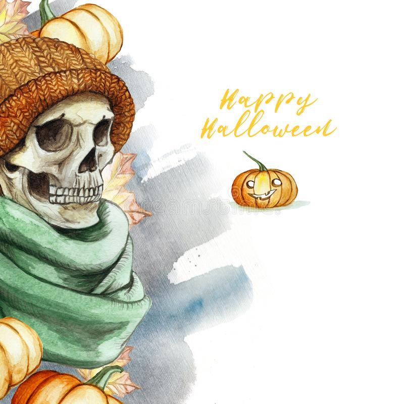 在万圣夜愚钝的人的头骨题材的水彩图画在桔子的编织了温暖的羊毛帽子和绿色围巾,反对后面 库存例证