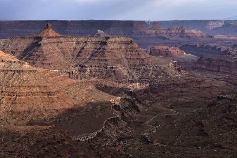 在万宝路点Canyonlands犹他附近的美好的日落 库存照片
