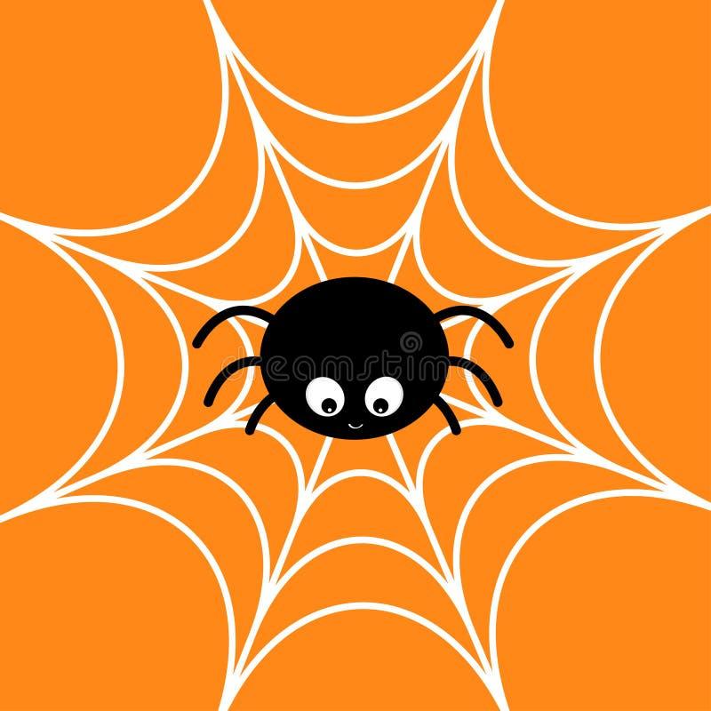 在万维网的蜘蛛 蜘蛛网白色 逗人喜爱的动画片小昆虫字符 看板卡愉快的万圣节 平的设计 橙色背景 向量例证