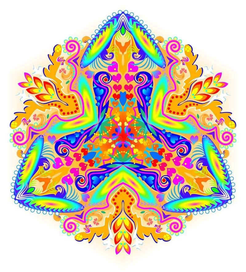在万花筒样式做的幻想装饰品 花的风格化例证 向量例证