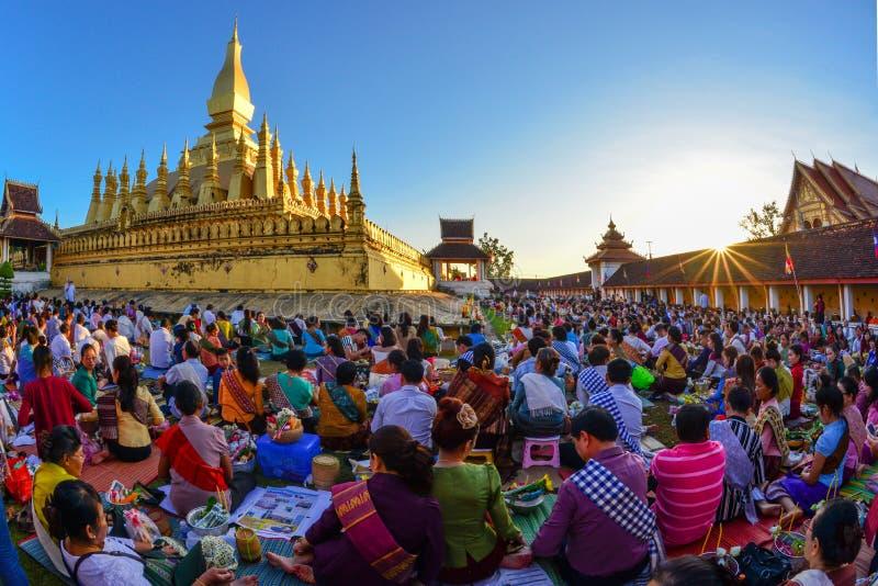在万象老挝人PDR的Thatluang节日 图库摄影