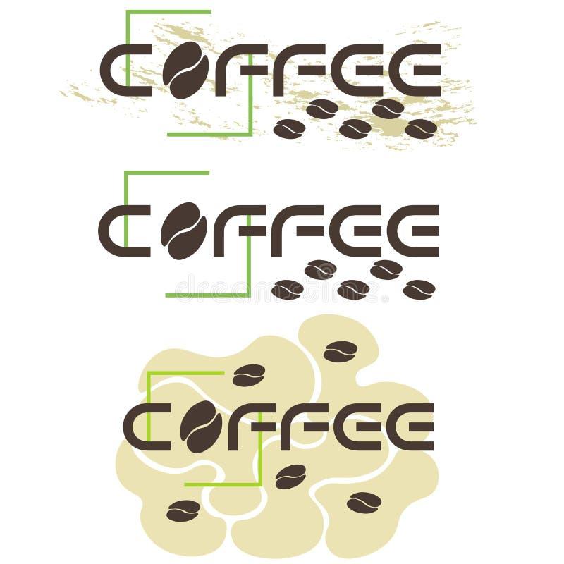 在三个版本的印刷咖啡商标与咖啡豆 向量例证