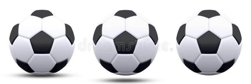在三个版本的黑白足球,有和没有阴影 查出在白色 3d回报 向量例证