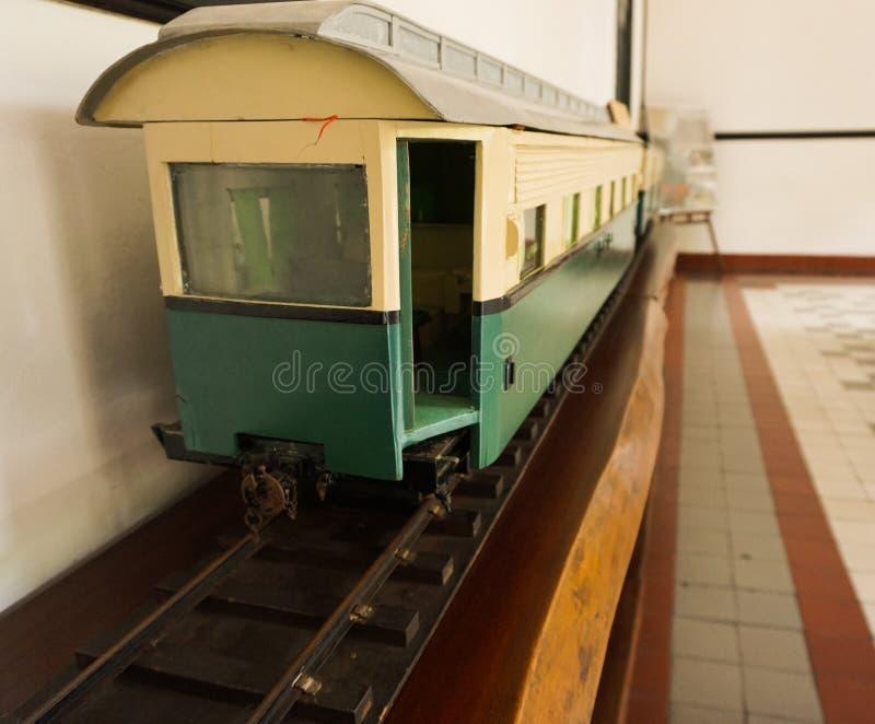 在三宝垄拍的博物馆照片的经典老火车印度尼西亚 库存图片