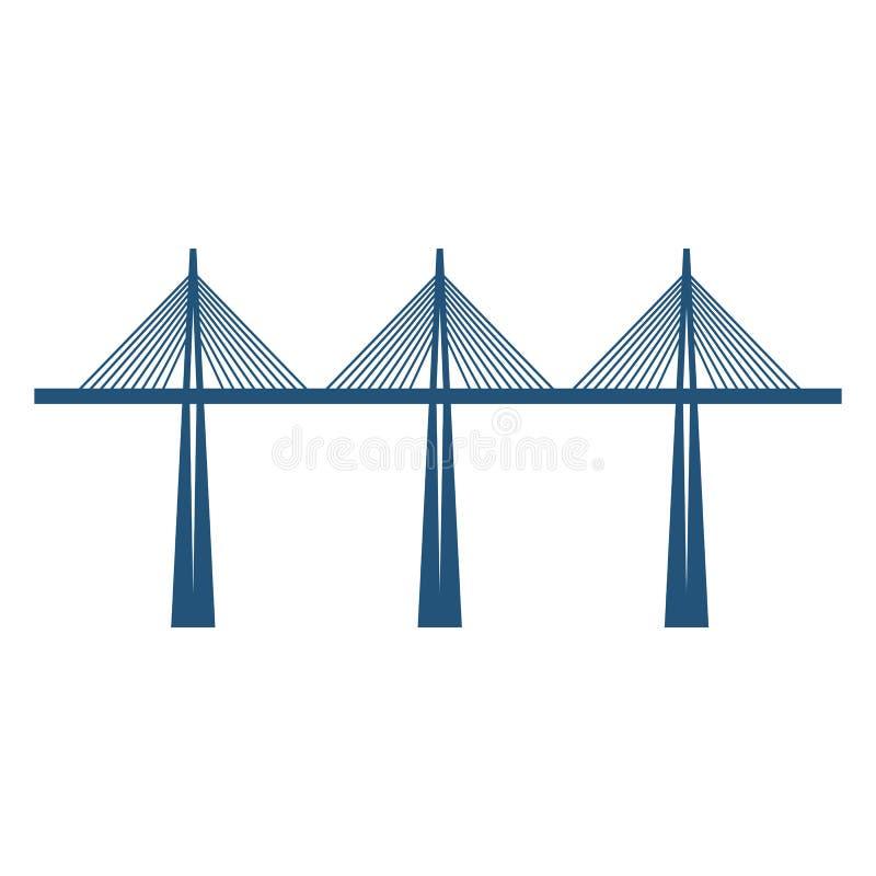 在三支持蓝色剪影传染媒介例证的缆绳被停留的桥梁 向量例证