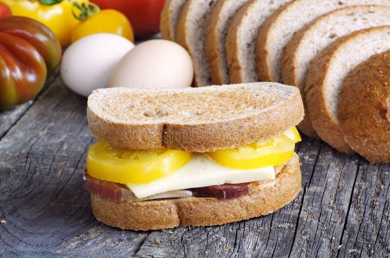 在三明治的敬酒的面包 库存图片