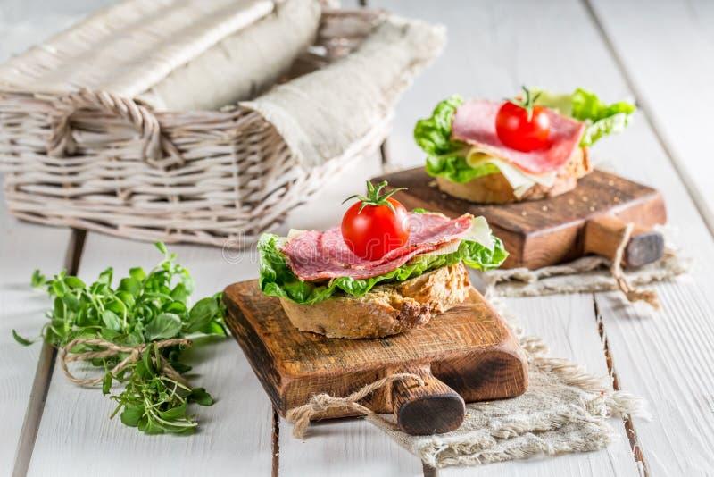 在三明治的新鲜的蒜味咸腊肠 免版税库存照片