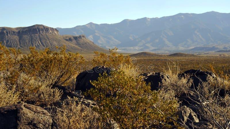 在三条河刻在岩石上的文字站点的西部山风景 免版税图库摄影
