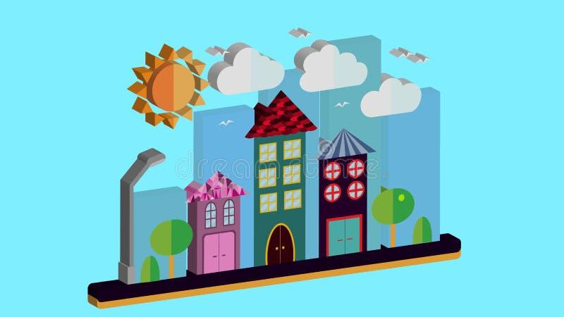 在三维平的样式的城市风景 有房子的城市有倾斜的屋顶和各种各样的美丽的瓦片的有灯笼的 皇族释放例证