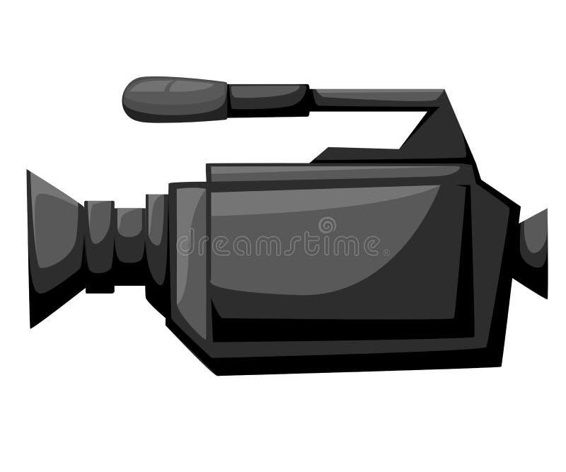 在三脚架的电影摄影机 做电影唯一象inmonochrome称呼标志储蓄例证摄象机平的象, v 向量例证
