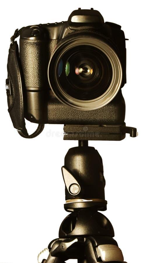 在三脚架的SLR照相机 库存图片