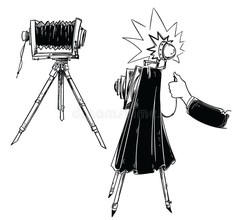 在三脚架,做与葡萄酒照相机的手的葡萄酒照相机射击 皇族释放例证