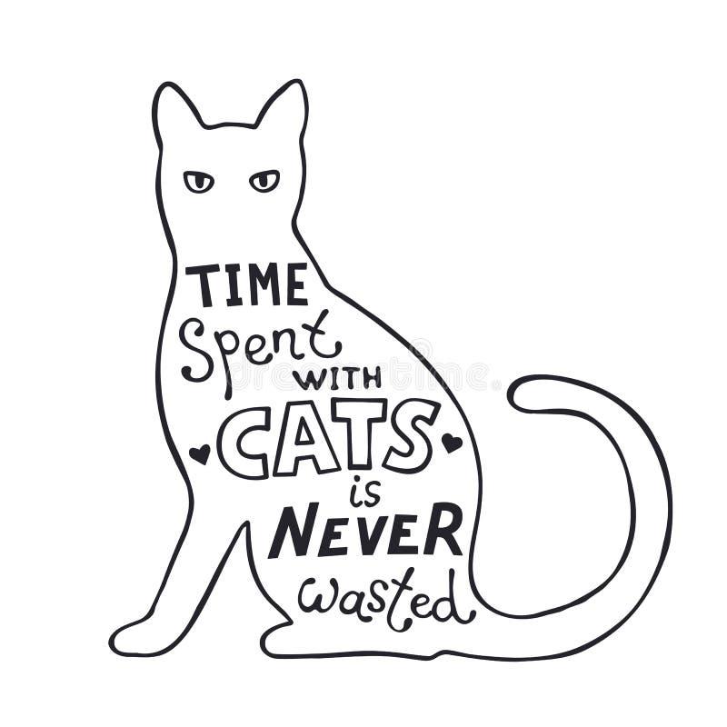 在上写字关于猫的乐趣 皇族释放例证