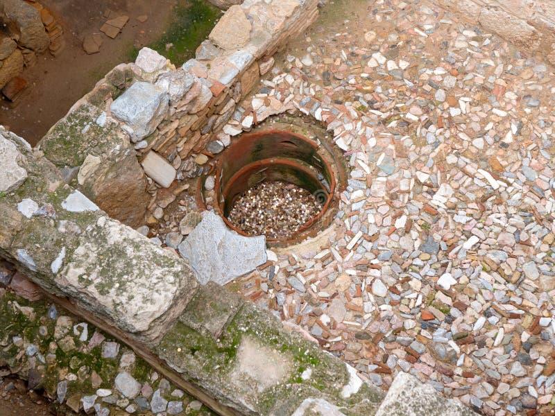 在上城博物馆下的废墟在雅典 图库摄影