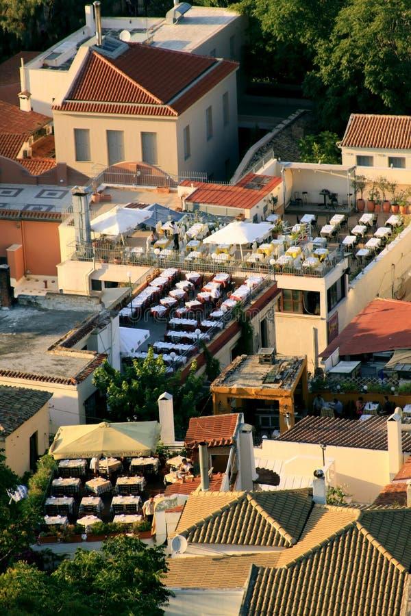 在上城,雅典山麓小丘的Tavernas  免版税库存照片