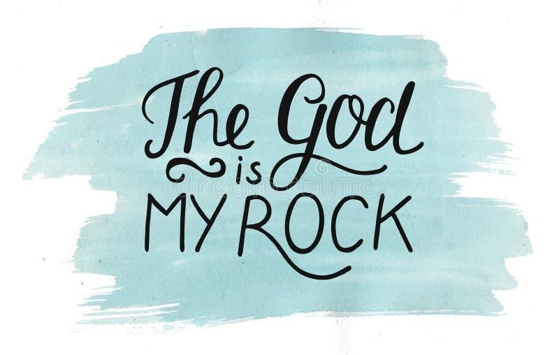 在上帝上写字的手是我的在水彩背景的岩石 库存图片