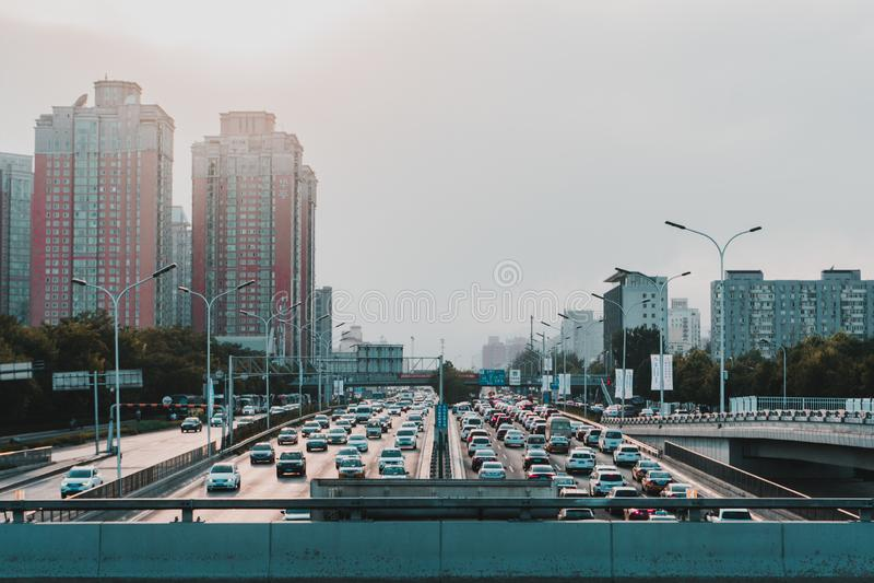 在上海路的日落 免版税库存照片