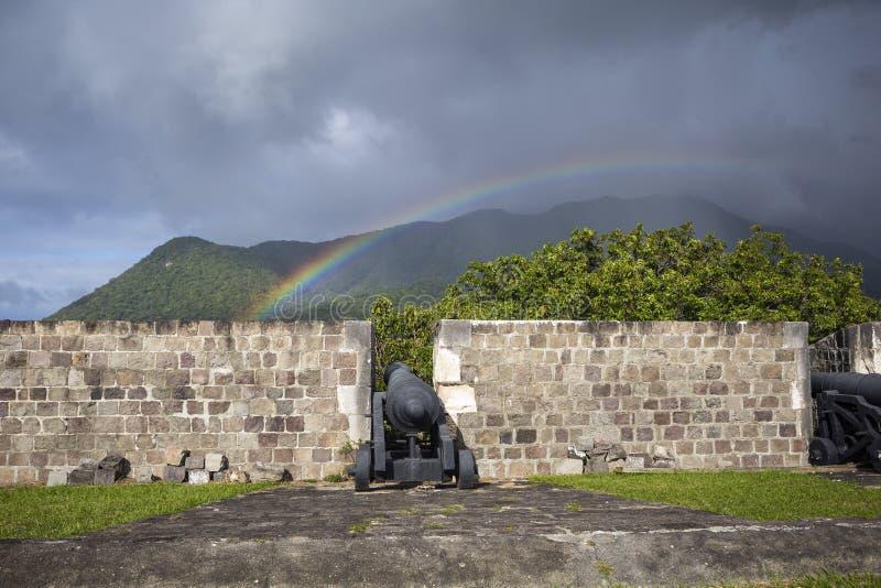 在上的彩虹在硫磺小山堡垒的大炮圣徒的Kitt 库存照片