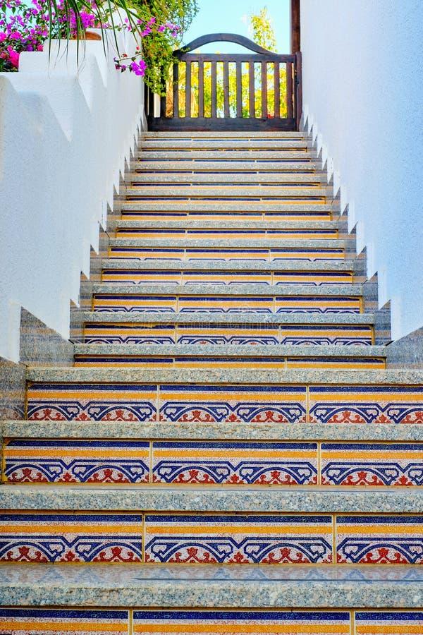 在上面的中国东部楼梯 免版税库存图片
