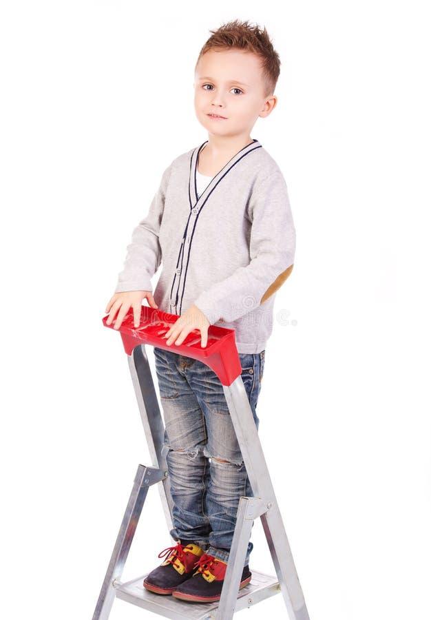 在上面的孩子在梯子 库存图片